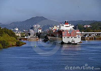 Panama Canal, Tugboat and Container Ship