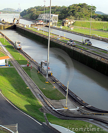 Panama Canal Waterways and Mules Editorial Stock Photo