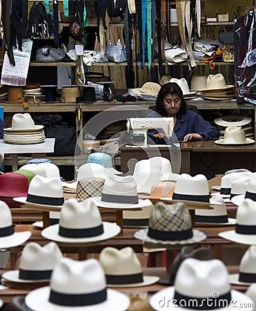 Panama Hats Shop - Cuenca - Ecuador Editorial Stock Photo