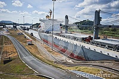 Panama kanal Redaktionell Arkivfoto