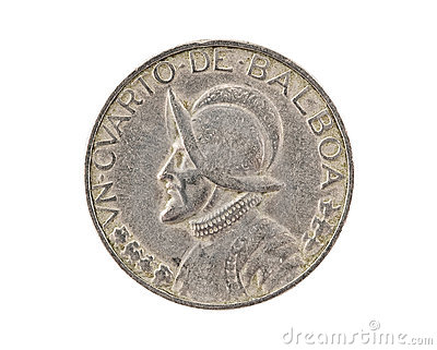 Panamanian coin isolated