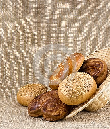Panary rolls pour out from a basket