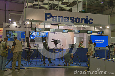 Panasonic TV equipment booth Editorial Stock Photo