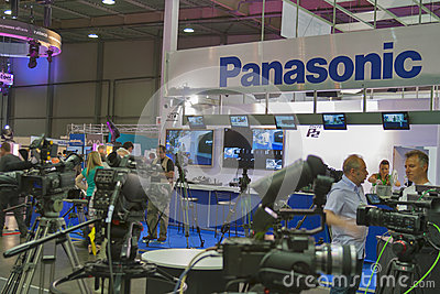 Panasonic TV equipment booth Editorial Photo