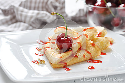 Pancake with cherry