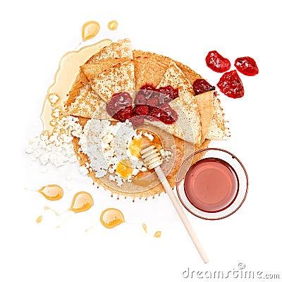 Pancake honey, jam and cottage cheese