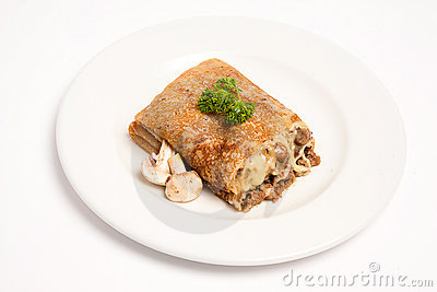 Pancake with mashrooms and meat