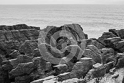 Pancake Rocks (black and white) 2