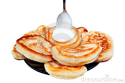 Pancake and sour cream