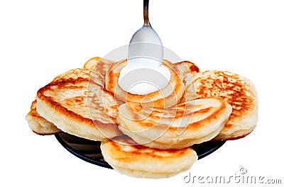 Pancake and sour cream