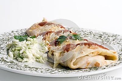 Pancake / tortilla / burrito on plate
