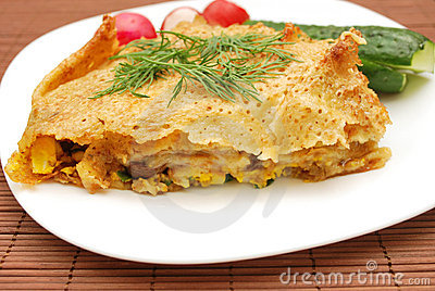 Pancake and vegetables