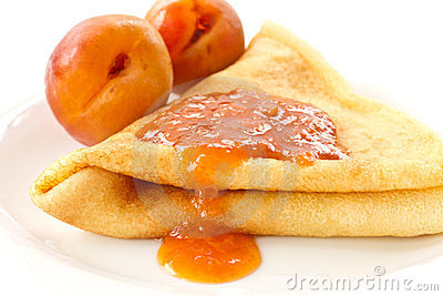 Pancakes with apricot jam