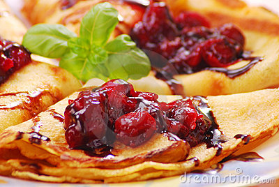 Pancakes with cherry confiture