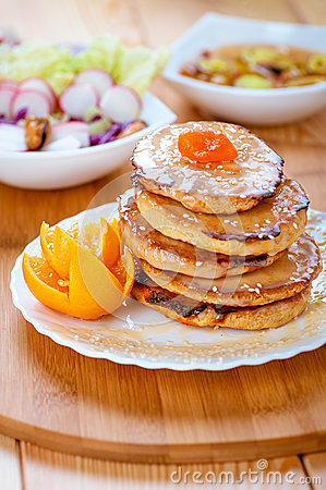 Pancakes and orange