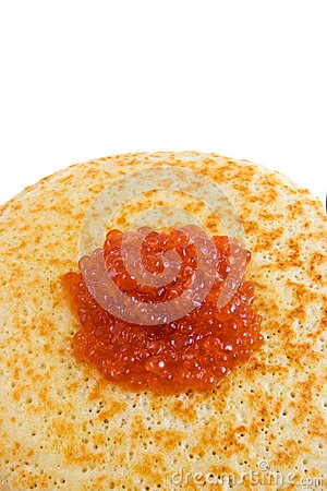 Pancakes with red caviar (top view)