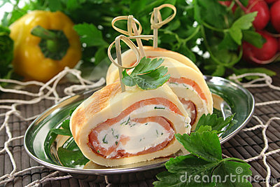 Pancakes with salmon and cream cheese