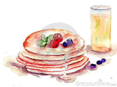 Pancakes stack with fresh berries and juice