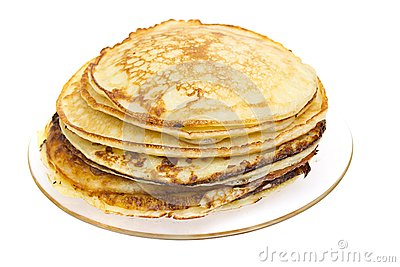 Pancakes stack isolated on white background