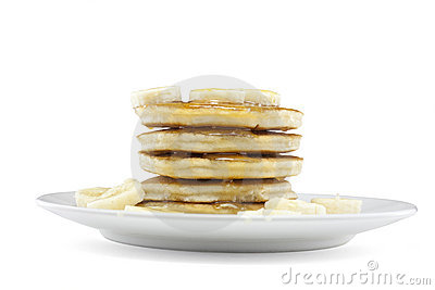 Pancakes with syrup and banana