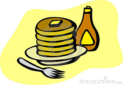 pancakes with syrup and fork vector illustration