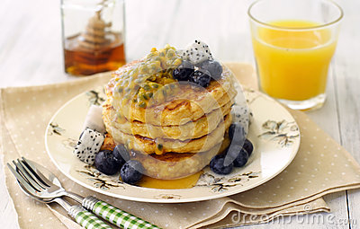 Pancakes with tropical fruits
