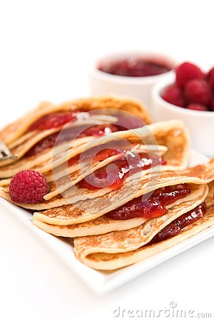 Free Pancakes With Raspberry Jam & Fresh Raspberries Stock Images - 4032814