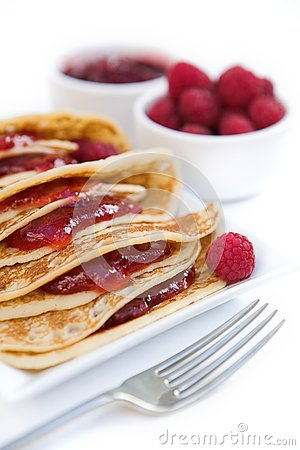 Free Pancakes With Raspberry Jam & Fresh Raspberries Stock Photos - 4032843