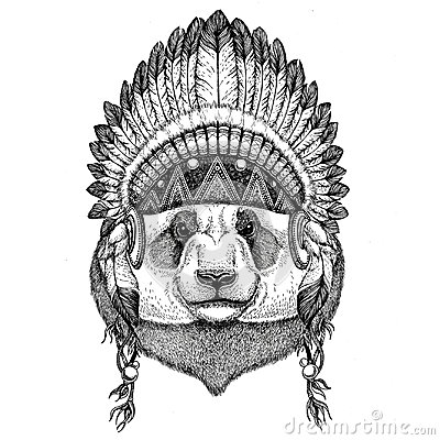 Free Panda Bear, Bamboo Bear Wild Animal Wearing Indian Hat Headdress With Feathers Boho Ethnic Image Tribal Illustraton Stock Images - 97423894