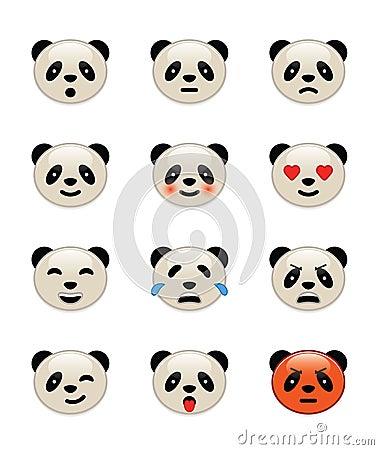 Panda bear emotion icons