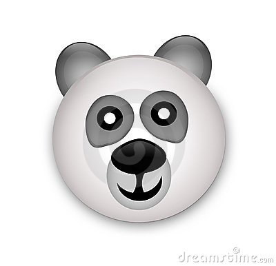 Panda bear head in 3d
