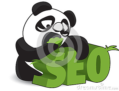 Panda Biting Off SEO Word Illustration