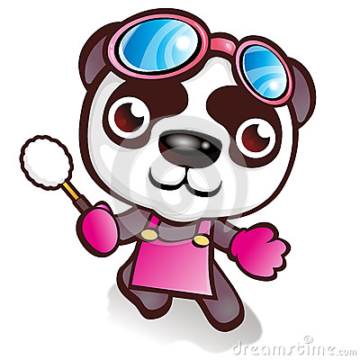 Panda character who likes to sweep