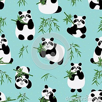 Free Panda Family Seamless Pattern Stock Images - 49591564
