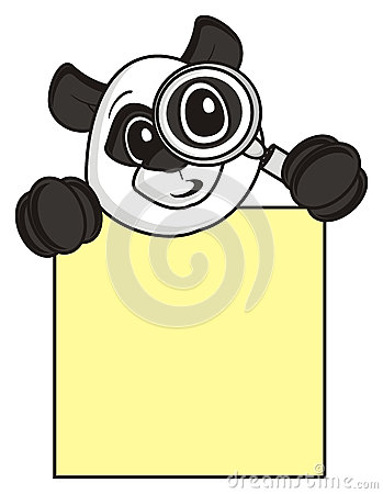 Free Panda Holding A Magnifying Glass And An Empty Plate Stock Image - 69647671