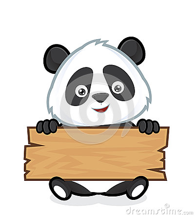Free Panda Holding A Plank Of Wood Stock Photography - 48564752