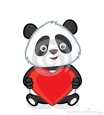 Free Panda Holding Heart Love Stock Photography - 48564762