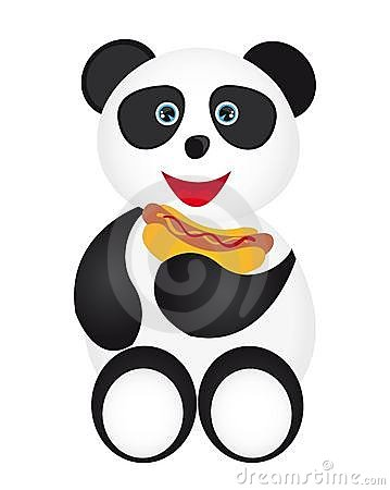 Panda and hot dog