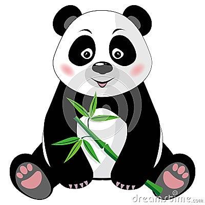 Panda mignon se reposant avec le bambou d 39 isolement sur b - Tout sur le bambou ...