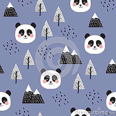 Panda Seamless Pattern Background Vector Illustration