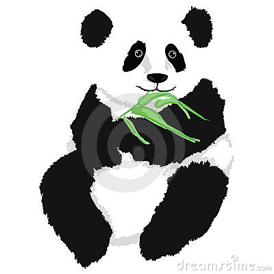 Panda sitting with bamboo branch