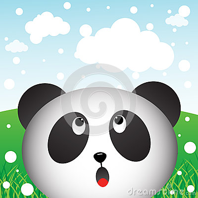 Panda and snow in the forest