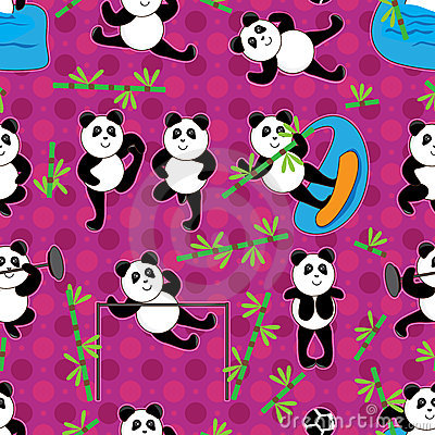 Panda Sport Bamboo Seamless Pattern_eps
