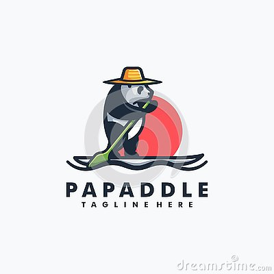 Panda Stand Paddle Design concept Illustration Vector Template Vector Illustration