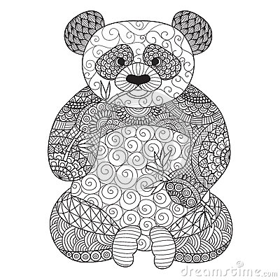 panda tir par la main de zentangle pour livre de coloriage pour l 39 adulte tatouage conception. Black Bedroom Furniture Sets. Home Design Ideas