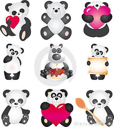 Free Panda. Vector Collection Royalty Free Stock Images - 17993459