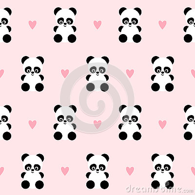 Free Panda With Hearts Seamless Pattern On Pink Background. Royalty Free Stock Photography - 78416217