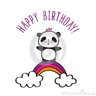 Free Panda With Rainbow. Stock Photo - 99116640