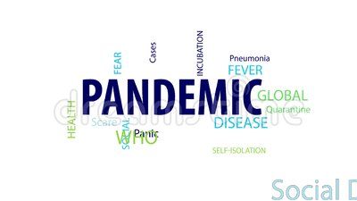 Animated Pandemic Word Cloud. Pandemic Word Cloud on a White Background stock illustration