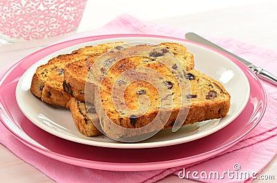 Pane tostato dell uva passa